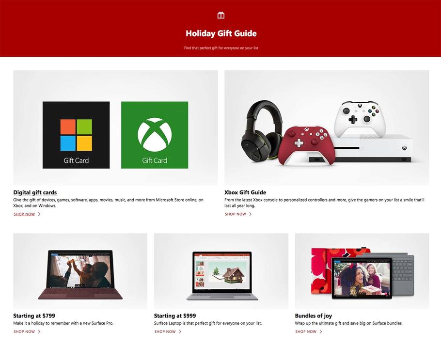 Microsoft Store Holiday Catalog page 1