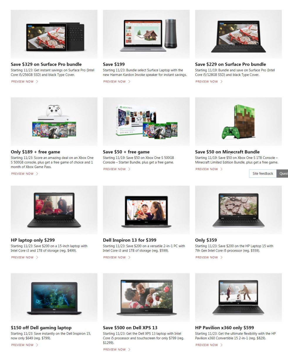 Microsoft Store Black Friday page 1